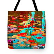 Lily Pads And Koi Colorful Water Garden In Bloom Waterlilies At The Lake Quebec Art Carole Spandau  Tote Bag