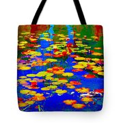 Lily Pads And Koi  Pond Waterlilies Summer Gardens Beautiful Blue Waters Quebec Art Carole Spandau  Tote Bag