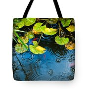 Lily Pads Ripples And Gold Fish Tote Bag