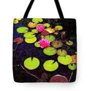 Lily Pads With Pink Flowers - Square Tote Bag