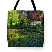 Lily Pond And Colorful Gardens Tote Bag