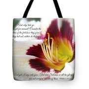 Lily With Scripture Tote Bag
