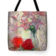Lily With Watermelon Tote Bag