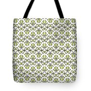 Lime Green And White Vines Tote Bag
