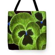 Lime Green Pansies Tote Bag