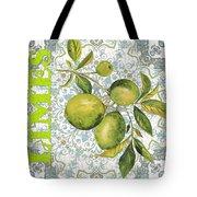 Limes On Damask Tote Bag