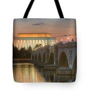 Lincoln Memorial And Arlington Memorial Bridge At Dawn I Tote Bag