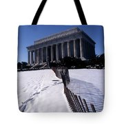 Lincoln Memorial In The Snow Tote Bag