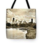 Lincoln Park View Sepia Tote Bag