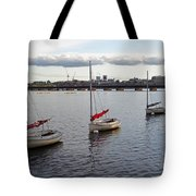 Line Of Boats On The Charles River Tote Bag