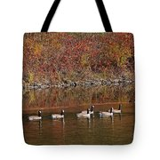 Line Of Geese On The Quinapoxet River Tote Bag