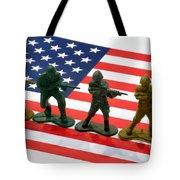 Line Of Toy Soldiers On American Flag Crisp Depth Of Field Tote Bag