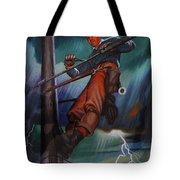 Lineman In Storm Tote Bag