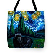 Lion And Owl On A Starry Night Tote Bag