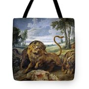 Lion And Three Wolves Tote Bag