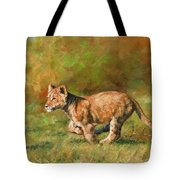 Lion Cub Running Tote Bag