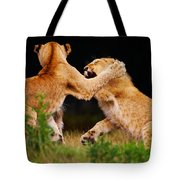 Lion Cubs Playing In The Grass Tote Bag