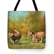 Lion Cubs Running Tote Bag