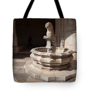 Lion Fountain Jeronimos Monastery In Lisbon Tote Bag