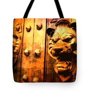Lion Heads Gothic Door Tote Bag