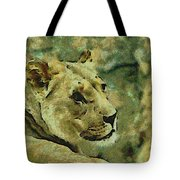 Lion Looking Back Tote Bag