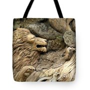Lion On The Tree Of  Life Tote Bag