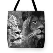 Lion Pair Black And White Tote Bag