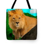 Lion Prowling Tote Bag