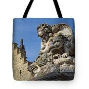 Lion Statue In Bruges Tote Bag