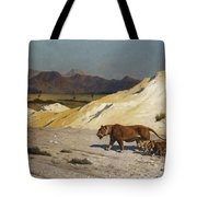 Lioness And Cubs Tote Bag by Jean Leon Gerome
