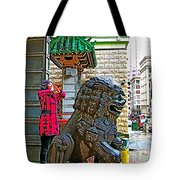Lions Roar At Entry Gate To  Chinatown In San Francisco-california  Tote Bag