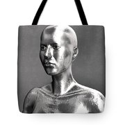 Liquid Metal Android In Front Of The Wall Tote Bag