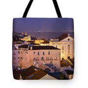 Lisbon At Night In Portugal Tote Bag