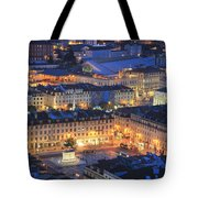 Lisbon At Night Portugal Tote Bag