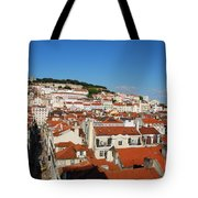 Lisbon Cityscape With Sao Jorge Castle And Cathedral Tote Bag