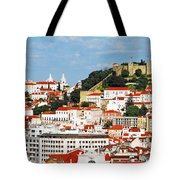 Lisbon Cityscape With Sao Jorge Castle Tote Bag