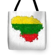 Lithuania Painted Flag Map Tote Bag