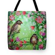 Little Birdies In Green Tote Bag