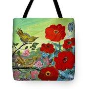Little Birds And Poppies Tote Bag