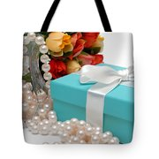 Little Blue Gift Box With Pearls And Flowers Tote Bag