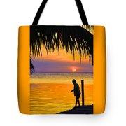 Little Boy Fishing Caye Caulker Belize Tote Bag