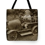 Little Boy In Toy Fire Engine Circa 1920 Tote Bag