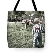 Little Boy On Farm Tote Bag