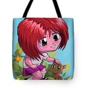 Little Cartoon Manga Girl Stroking Pet Cat Tote Bag