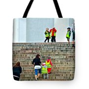 Little Children Climbing Steps Of Lutheran Cathedral Of Helsinki-finland Tote Bag