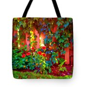 Little Country Scene Pink Flowers Climbing Leaves On Wood Fence Colors Of Quebec Art Carole Spandau Tote Bag