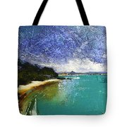 Little Cove Noosa Heads Abstract Palette Knife Seascape Painting Tote Bag