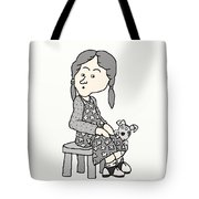 Little Girl And Dog   Tote Bag