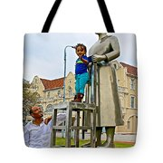 Little Girl Gets Close To Woman Sculpture In Donkin Reserve In Port Elizabeth-south Africa Tote Bag