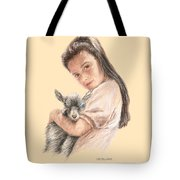 Little Girl Holding A Baby Goat Tote Bag